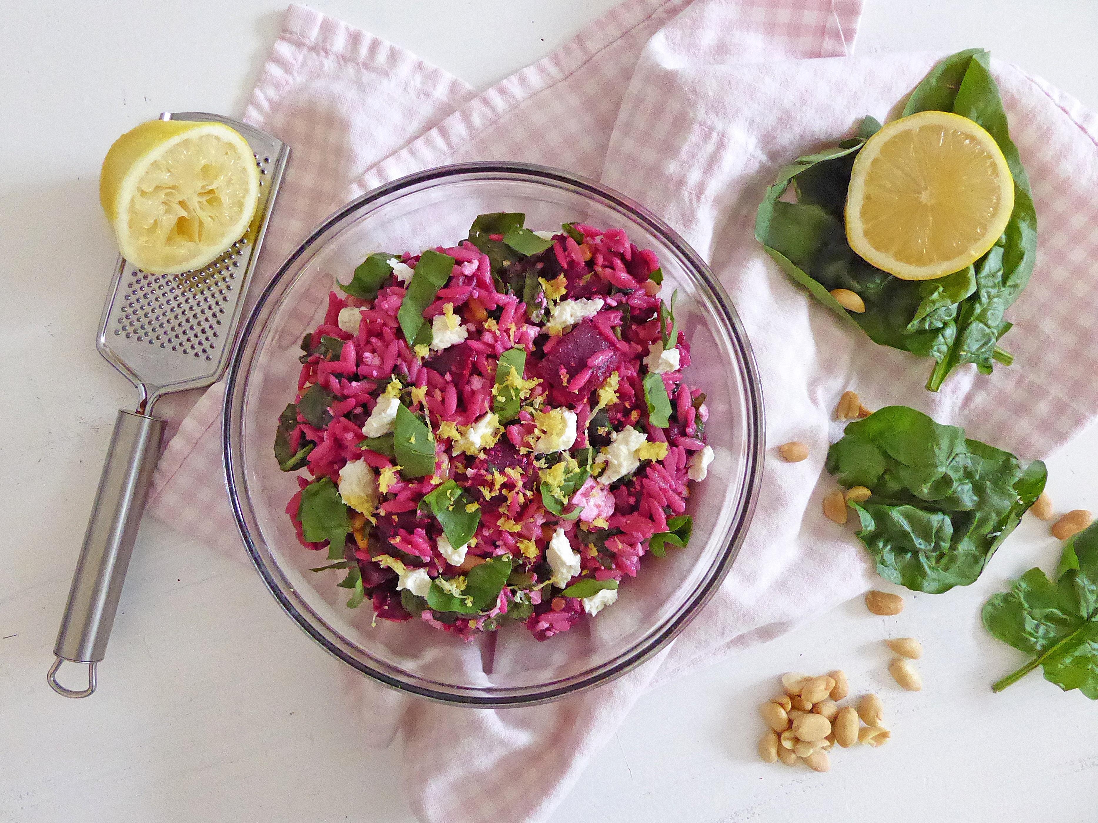Salade d'orzo, betterave et feta