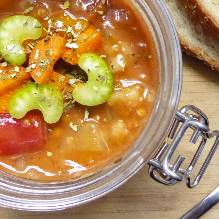 Soupe orge et lentilles végétarienne à la mijoteuse